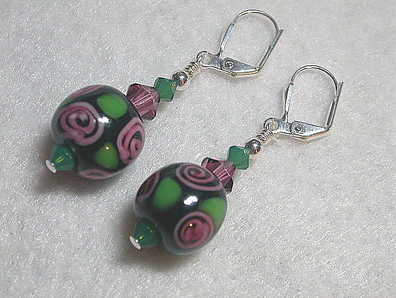 Pink and Black Earrings Swrily rose lampwork glass