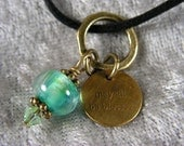 """Art charm pendant - mixed media - C. Hansen lampwork bead & etched brass tag - """"may all be blessed"""""""