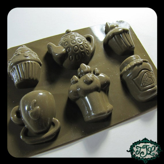 silicone MOLD CUPCAKES and TEA Related for resin, candy, clay, wax, soap, plaster, etc.