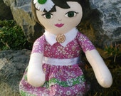 Pink and Green Floral Rag Doll