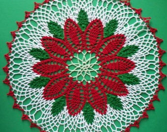 Hand Crocheted Doily.  Large Poinsettia.