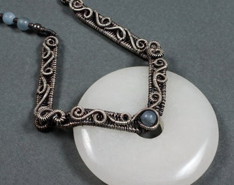 """The Angels' Song - Sterling Silver, Angelite and """"White Jade"""" Necklace - CLEARANCE"""