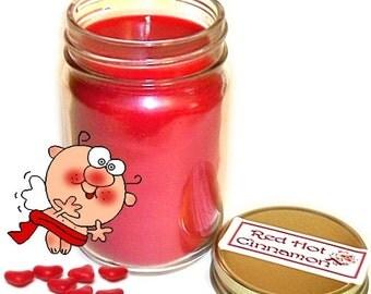 Red Hot Cinnamon Mason Jar Candle Spice Scent 12 Oz Handmade