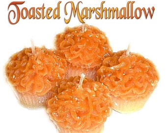 4 Toasted Marshmallow Cupcake Candle Minis Scented Votive Handmade
