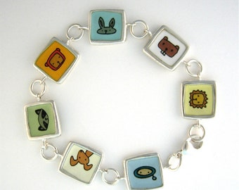 Animals Reversible Enamel and Sterling Silver Bracelet - Fourteen Heads - Dog, Cat, Lion, Elephant, Raccoon, Beaver, Bunny, Bird, Bear, Owl