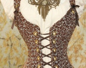 CLEARANCE-WAS 149-Waist 41 to 43 Blue and Chocolate Floral Courtier Corset