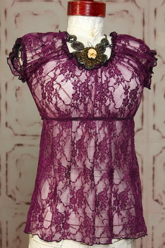 Size Medium Purple Lace Blouse