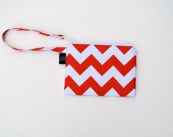 New Orange Chevron Wristlets  Ready to ship cell phone, iphone, camera gadget bag