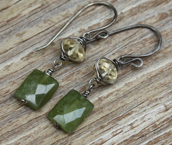 Wire Wrapped Citrine, Vesuvianite Earrings, Sterling Silver, Oxidized