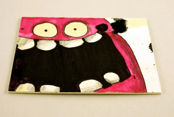 Pink Monster, Original ACEO drawing by Aaron Butcher