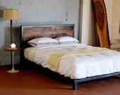 Kraftig Platform Bed with Rough Walnut Headboard KING SiZE