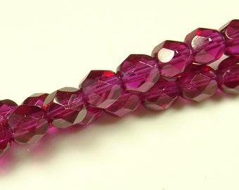 6mm Transparent Fuschia Firepolished Glass Beads  - 30 Pieces - 411s8