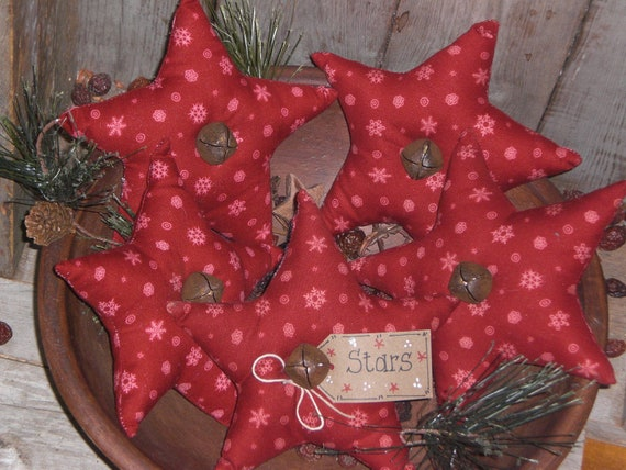 Set of 5 Primitive Christmas Holiday Snowflake Red Fabric BIG Stars Bowl Fillers Ornies Tucks Ornaments