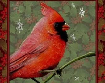 Cardinal Bird Art Holiday Greeting Card by Melody Lea Lamb