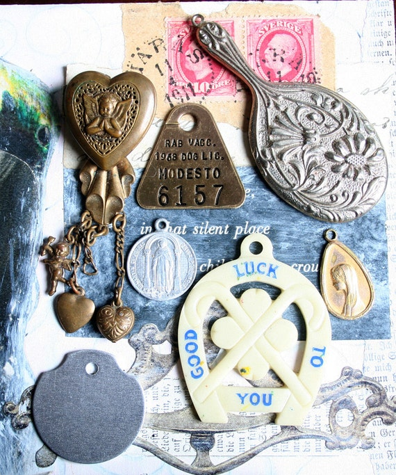 7 Vintage Repurpose Pieces Dog Tag PIN Locket Holy Medals Mirror Pendant Horse Shoe Jewelry Altered Art Mixed Media AZ