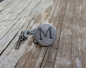 Custom Hand Stamped Tie Tack Tie Pin Personalized Wedding Groom Best Man Gift