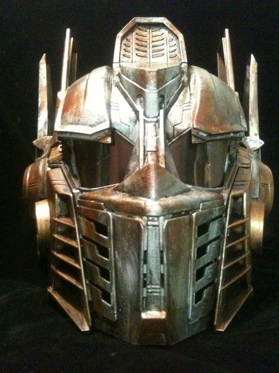 Rusted Optimus Prime Helmet Transformers  Life Size Cosplay  Battle damaged Copper