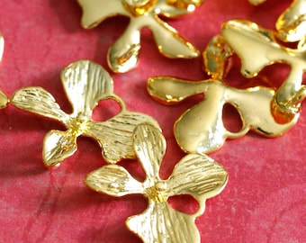 Sale Top Quality 4pcs Golden Finish Brass Flower Connectors KK-B262-G