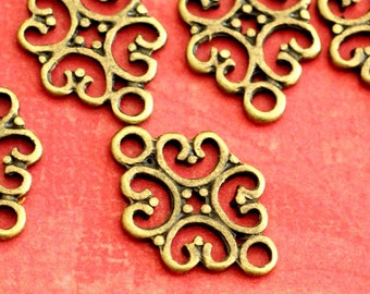 Lead free 24pcs Antique Bronze Filigree Connectors S005-AB-FF