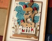 SALE - Mixed Media Altered Book With Wood Animals