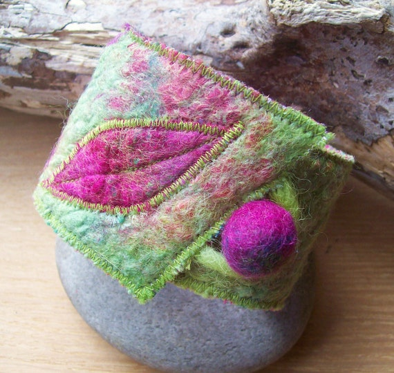 Wrist Cuff Nuno Felt with Leaf Pattern