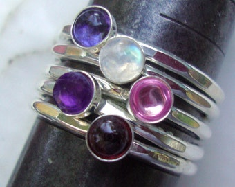5 Ring Fun Stack  choice of stones - eco-friendly sterling silver extra durable- Custom Made in your Size