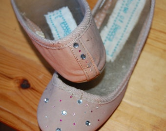 Hand decorated peach ballet flats