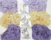 Crinkled Seam Binding ,  18 YARDS ,  FRENCH MACARONS , Spring , Lavender ,  Lilac  , Yellow , Purples