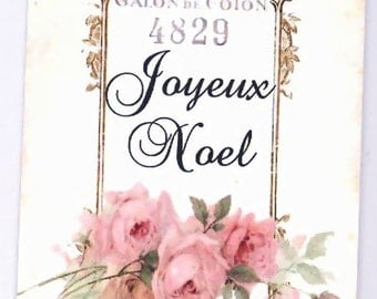Christmas Gift Tags ,Vintage Style ,French Joyeux Noel , Shabby and Chic