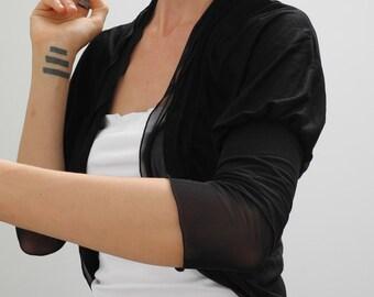 shrug bolero cardigan, 3/4 sleeves shrug, black jersey and mesh, ruffled edges