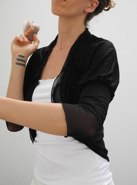 custom for Daphne - shrug bolero cardigan in black jersey and mesh with ruffled edges, 3/4 sleeves