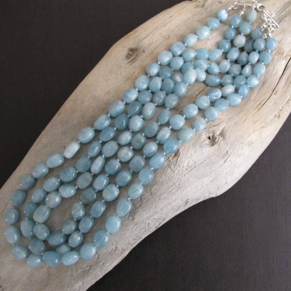 Triple Strand Aquamarine Knotted Statement Necklace, 3 Strand Necklace