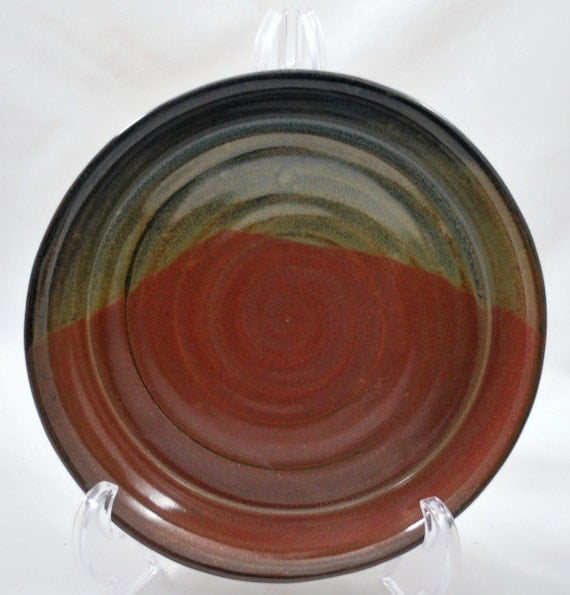 Ceramic Pie Plate in Randy's Red and Floating Blue
