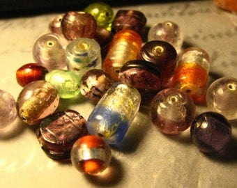22 Assorted Silver Lined Glass Beads