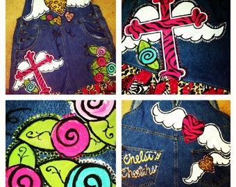 Custom Painted Overalls for girls with hearts and wings and crosses all blinged out
