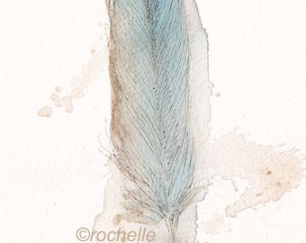 romantic feather print 5x7