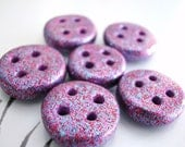 Purple Buttons Glitter Handmade Polymer Clay