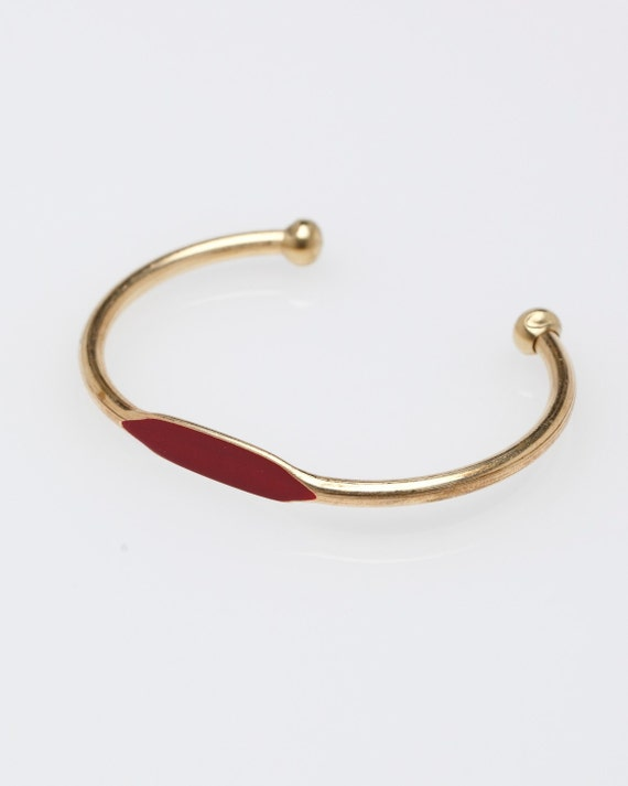 Crimson Red Hand Painted Brass ID Bangle Cuff Bracelet // Perfect Valentine's Day Swwetheart Gift