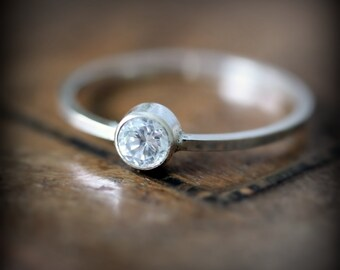 CZ ring - recycled sterling silver ring with bezel set stone