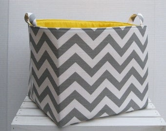 Gray/ White Chevron Zigzag - Fabric Organizer Bin Toy Laundry Storage Container Basket -  11 x 11 x 11