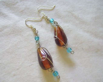 Amber and Turquoise Wire Wrapped Earrings