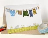 Little Boy's Washing Line Card - Single Card (Blank)