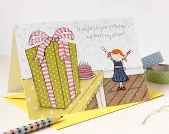 Birthday Card - Clara Loves Presents - Single Card (Blank) - Children's Birthday Card - Quirky Birthday Card – Birthday Gift Card