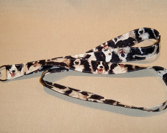 Border Collie - handmade fabric lanyard