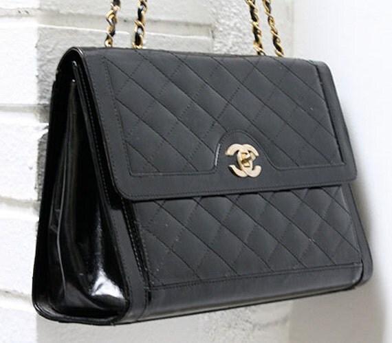 Vintage Black Leather Quilted Designer Box Style Purse Handbag