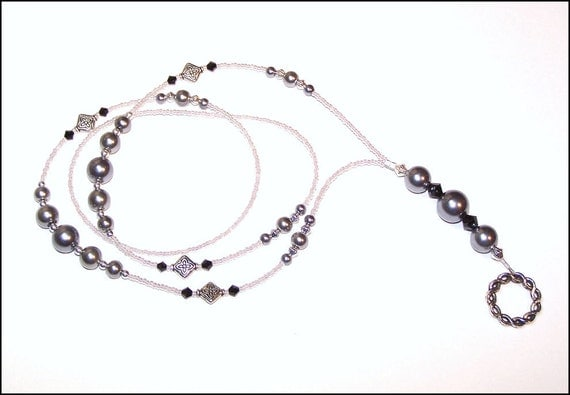 The Grey Pearl - beaded lanyard - grey and silver glass pearl and crystal beaded ID badge lanyard necklace for teacher nurse gift