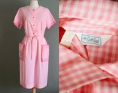 50s XL Pink Gingham Hand Pocket DRESS