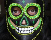 Day of the Dead Sugar Skull Mask - Shades of Green