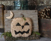 Primitive Halloween Jack O Lantern Pumpkin Barn Wood Hanger