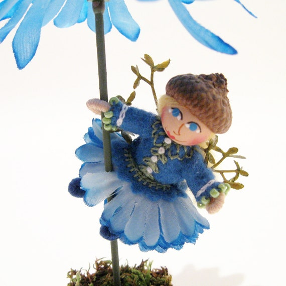 Flower Pot Fairy Doll, Collectible, Tabletop Decor, Handmade, Hand Embroidered